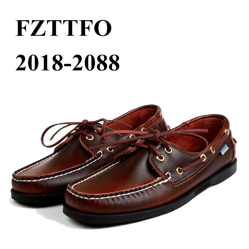 Men Genuine Leather Driving Shoes,New Fashion Docksides Classic Boat Shoe,Brand Design Flats Loafers For Men Women 2019A008