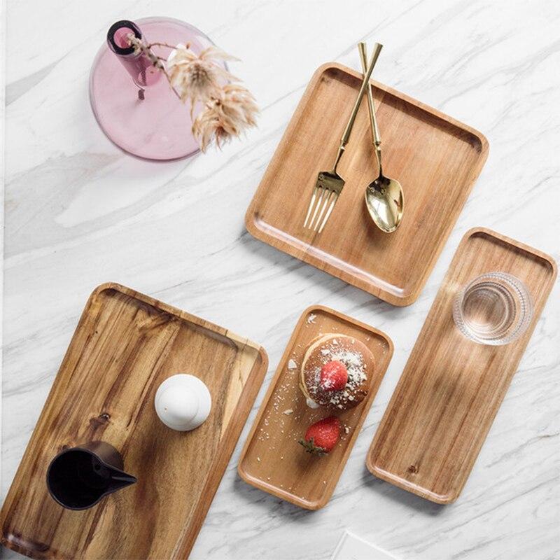 1 шт акации поднос квадратный прямоугольник завтрак суши закусочный хлеб десертная тарелка для торта с удобной переноски рифленая ручка-4