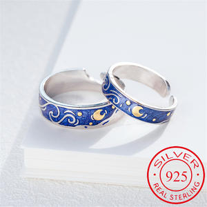 Couple Rings Jewelry Van Gogh Best-Gift Starry Night Real-Pair Women Lovers Art Man Moon