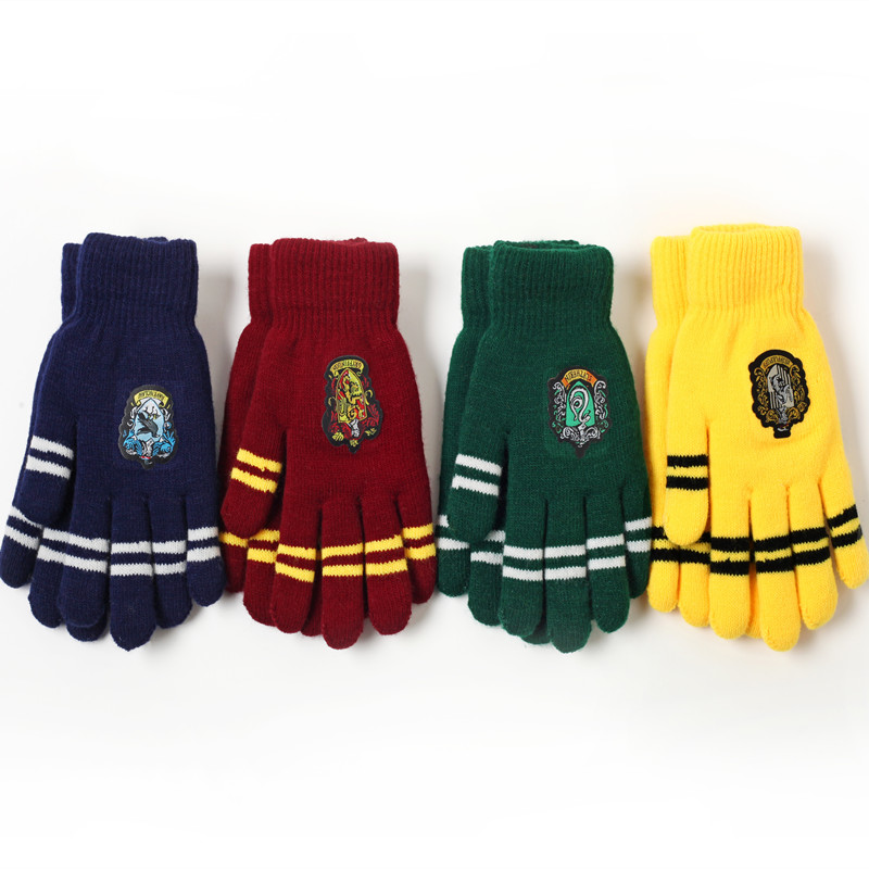 Thickened Gryffindor House Gloves Harr POTER Anime Cosplay Winter Warm Stretch Knit Gloves Toys For Children Fans Christma Gift