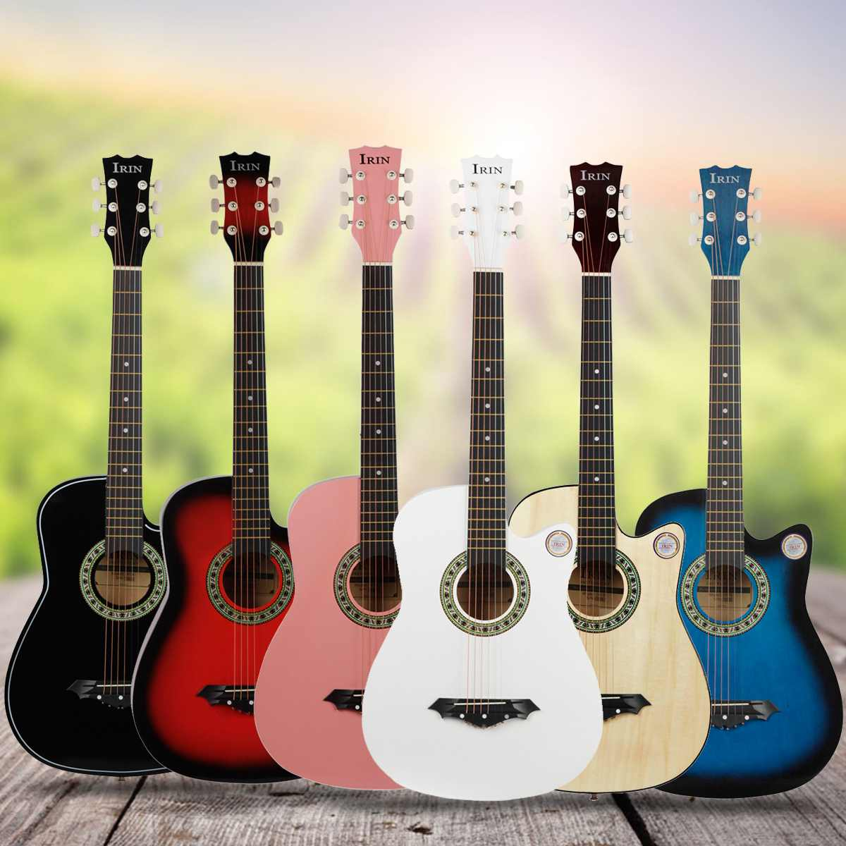 38 Inch Guitar Guitarra Acoustic Folk Guitar For Beginners 6 Strings Basswood Classical Stringed Instrument For Beginners