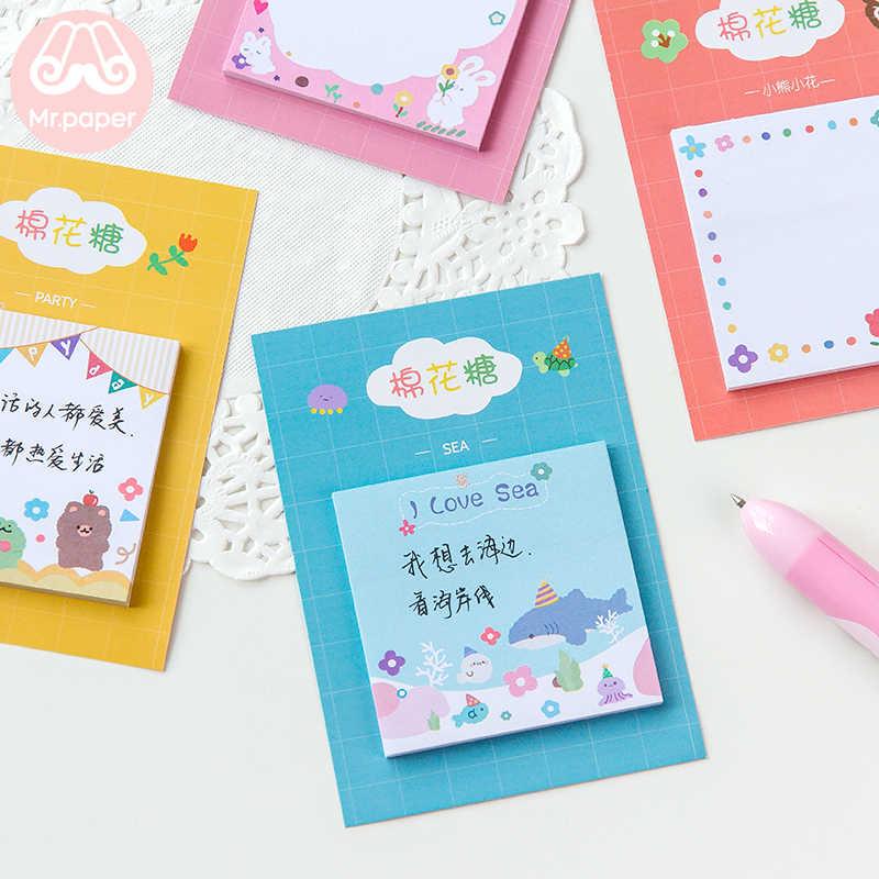Mr Paper 30 pièces/lot 8 dessins barbe à papa ours arc-en-ciel mémo tampons Notes autocollantes bloc-Notes journal créatif auto-adhésif Notes mémo