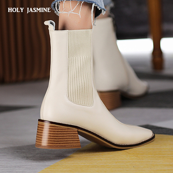 2020 Autumn Fashion Women Ankle Boots Square Toe Low Heel Shoes Woman Back Elastic Band Short Booties Black White Botas Mujer цена 2017