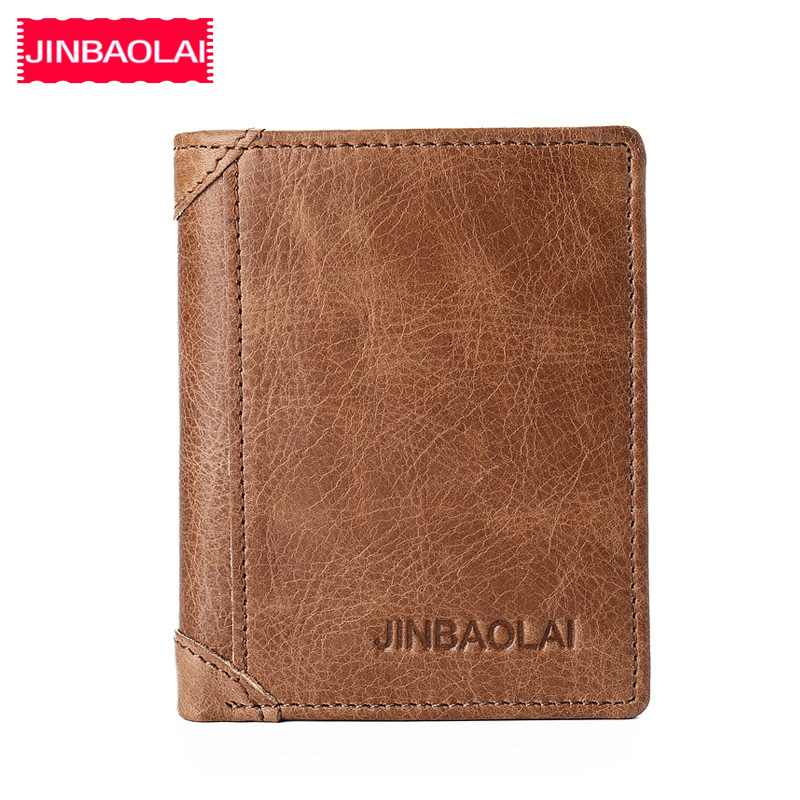 JINBAOLAI Genuine Cow Leather Male Short Wallets Small Solid Card Pocket Money Clip Thin Wallets Vintage Brand Men Wallets