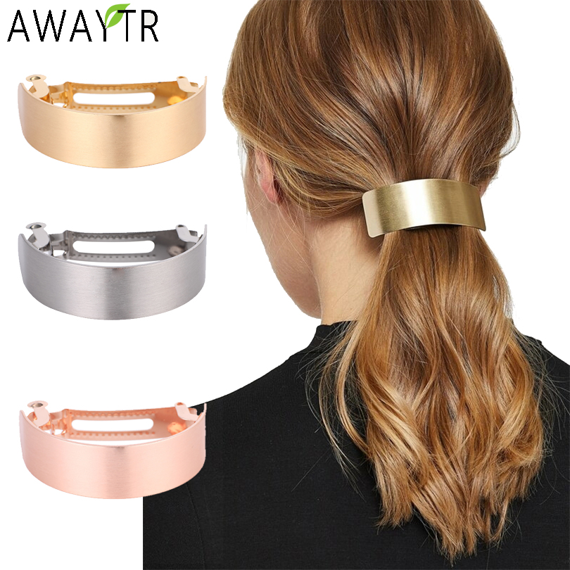 AWAYTR Simple Metal Hair Clips For Women Hairpin Barrettes Hair Barrette Ponytail Holder Girls Hair Accessories Female Styling