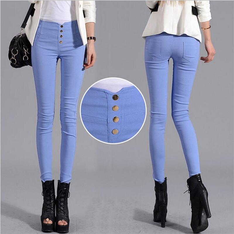 Pencil Pants Leggings Women Four Button Pocket Female Casual Blue Black Plus Size Leggings 3XL High Waist Trousers