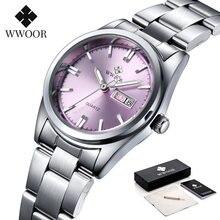 Часы wwoor женские с браслетом маленькие розовые наручные часы