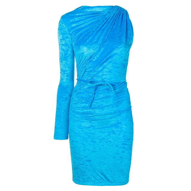 Innovative Kylie jenner Velvet Mini Dress Shiny Light Blue Ruched Long Sleeve One Shoulder Clubwear with Tie in Asymmetric Style 3