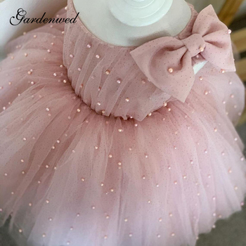 2016 new bling sequin hot pink flower girl dresses with bow baby birthday glitz party dress beauty pageant dresses ball gowns Pearls Sequin Pink Princess Flower Girl Dresses Single Shoulder Bow Ball Gown Girl Wedding Party Dresses Girl Communion Dress