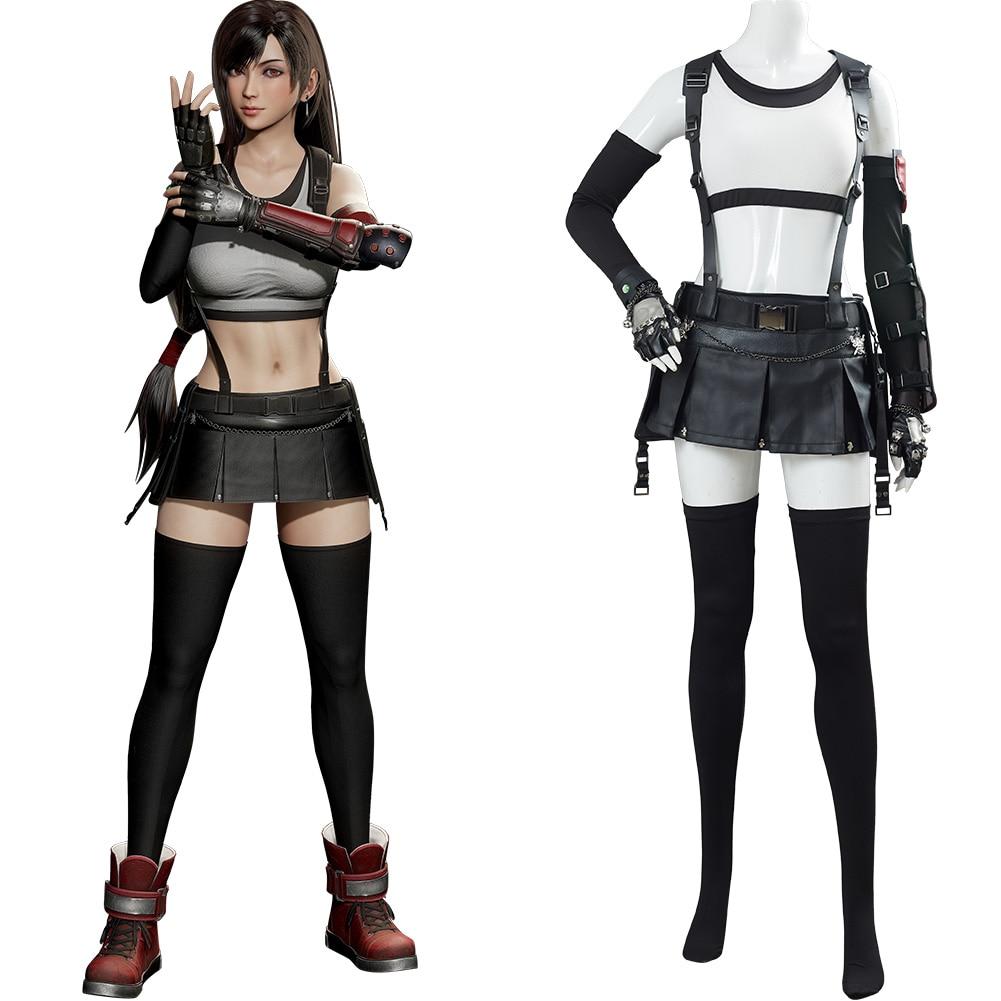 Final cosplay fantasia vii 7 remake tifa lockhart cosplay traje roupa uniforme carnaval de halloween terno