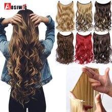 AOSIWIG длинные невидимые волосы для наращивания лески кусочки волос термостойкие синтетические без зажимов натуральные волнистые шиньоны