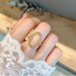 XIYANIKE 925 srebro moda INS Trend niszowy projekt Hollow pierścień twarz okrągły pierścionek koralikowy Retro otwarcie osobowości kobieta