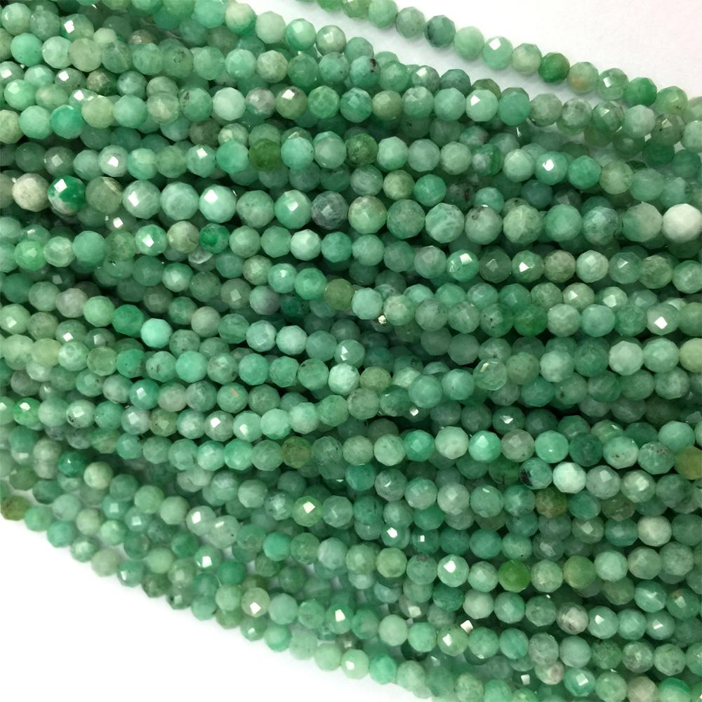 Wholesale Natural Genuine Green Emerald Faceted Round Loose Small Beads 15