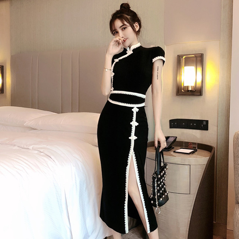 2020 Chinese Dress Women Mandarin Collar Vintage Satin Dress Qipao Slanted Fork Cheongsam Lingerie Robe Satin Vestido Chino