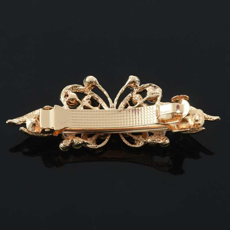 Женский золотистый металлический черный бабочка горный хрусталь заколка для волос
