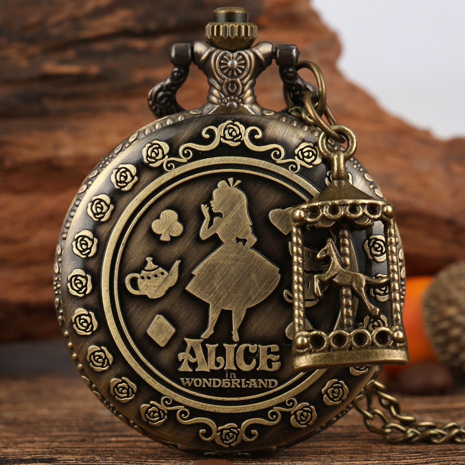 Retro Bronze Dream Alice In Wonderland Rabbit Poker Carousel Accessory Quartz Pocket Watch Chain Necklace Pendant For Girl Women