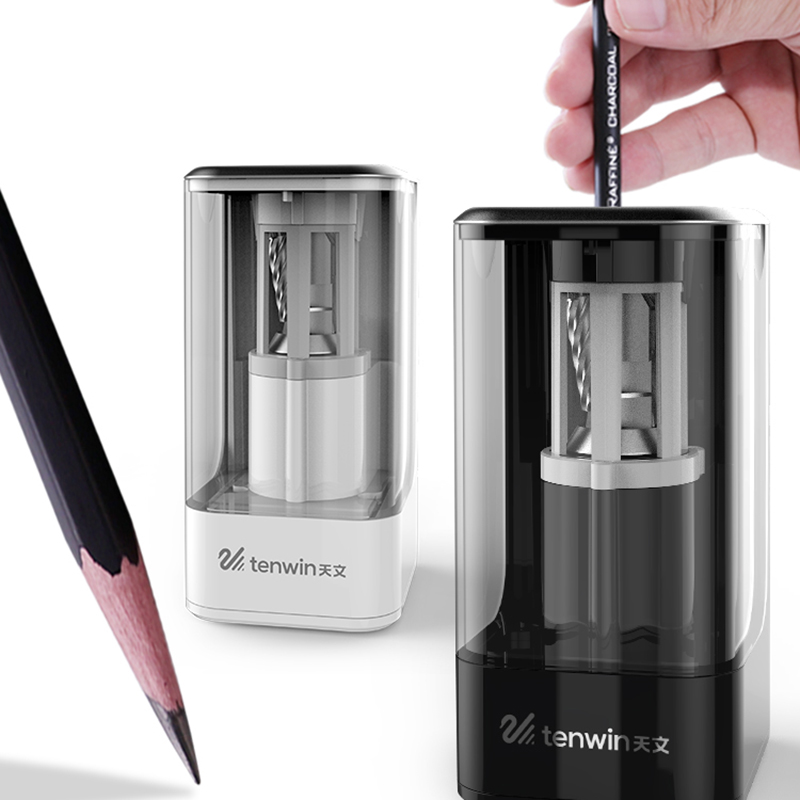 TenWin Black White Professional Electric Sharpener Pencil Electric Heavy Duty Mechanical Automatic For Kids