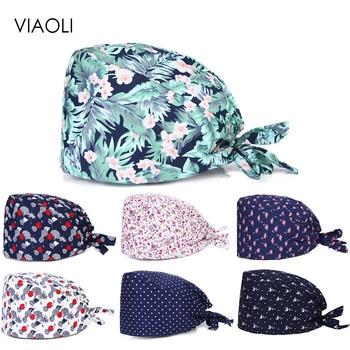 new Fashion colored flowers cartoon print hats adjustable women scrubs hat beauty salon working cap lab coat pet shop Scrub Cap
