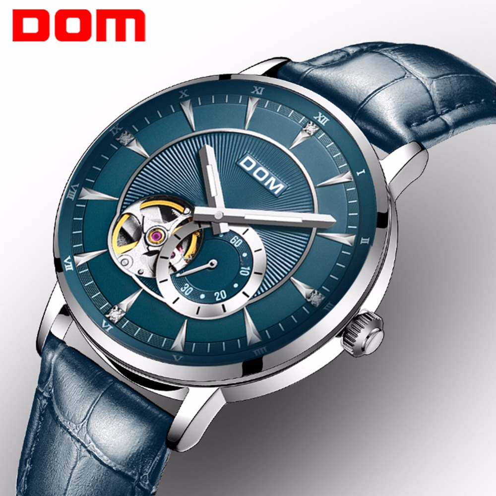 DOM New Blue Men's Skeleton WristWatch Leather Antique Steampunk Casual Automatic Skeleton Mechanical Watches Male Clock M-8104