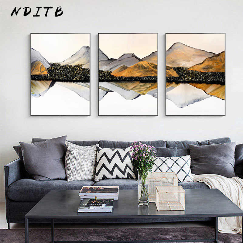 Mountain Reflection Abstract Wall Poster Landscape Canvas Print Decorative Painting Contemporary Art Home Decoration Picture