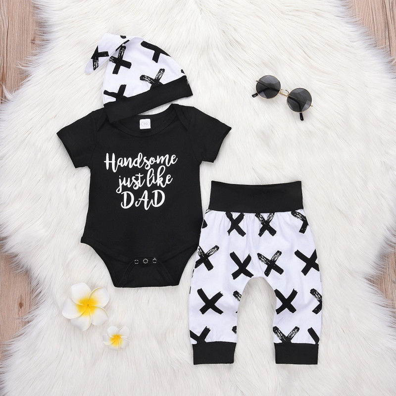 CYSINCOS 0-24M Toddler Kids Baby Boy 3Pcs Clothes Set Newborn Infant Letter Print Tops Romper Pants Leggings Outfits Clothing