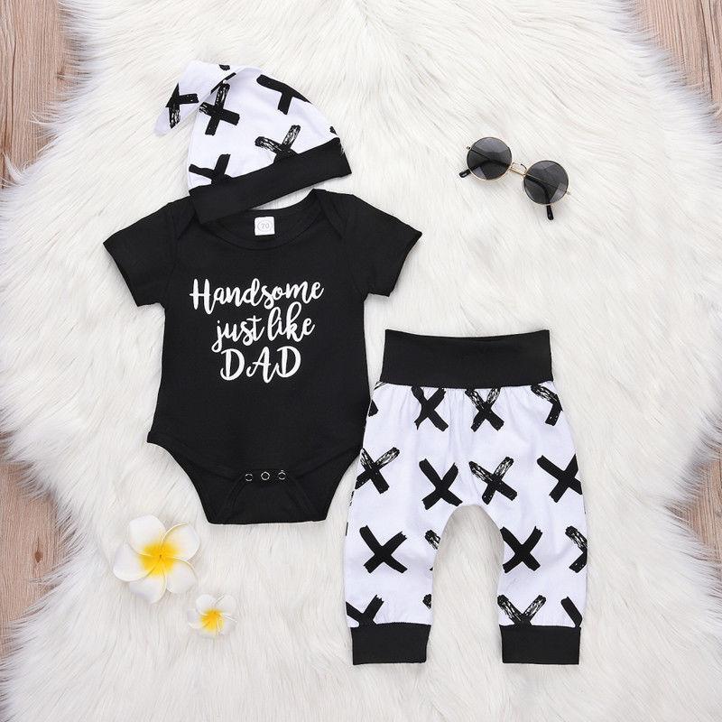 CYSINCOS 0-24M Toddler Kids Baby Boy 3Pcs Clothes Set Newborn Infant Letter Print Tops Romper Pants Leggings Outfits Clothing