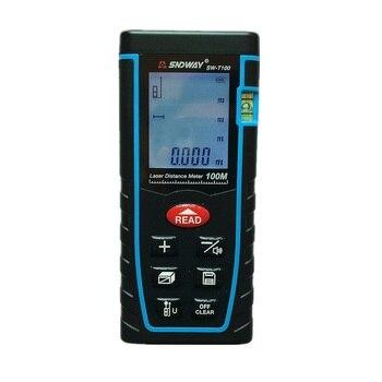 Telémetro láser SNDWAY SW-T100 medidor de distancia 100m 328ft trena láser nivel de burbuja telémetro medidor de construcción cinta métrica