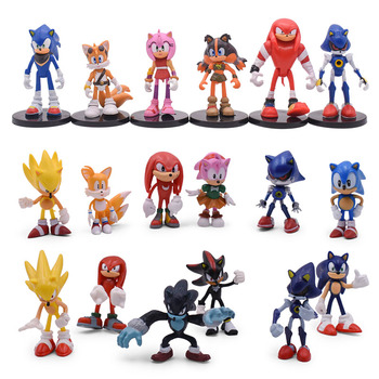 3 Styles Sonic Action Figure PVC Toy Sonic Shadow Tails Characters Figure Collection Model Children Kids Christmas Gift недорого