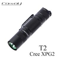 Linterna Convoy T2 Cree XPG2 Lanterna Mini linterna LED de batería AA versión Flash luz linterna portátil potente campo de luz de trabajo