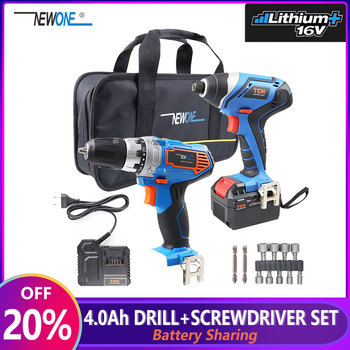 2-Tool 16V Lithium-Ion Cordless Drill/Driver & Impact Driver Power Tool Combo Kit with 1pc Bag 1pc 4.0Ah Battery 1pc Charger