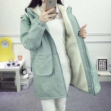 Winter Fleece Women Parka Large Size Female Hooded Medium Length Warm Winter Coat Padded Pink Blue Woman Windbreaker Clothes