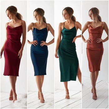 Neon Satin 2020 Summer Women Bodycon Dress Elegant Sleeveless Backless Slit Long Party Dress Sexy Club Outfit Clothes Vestidos summer satin sexy backless lace up slim bodycon dress sexy club sleeveless bandage dresses women sexy party dress