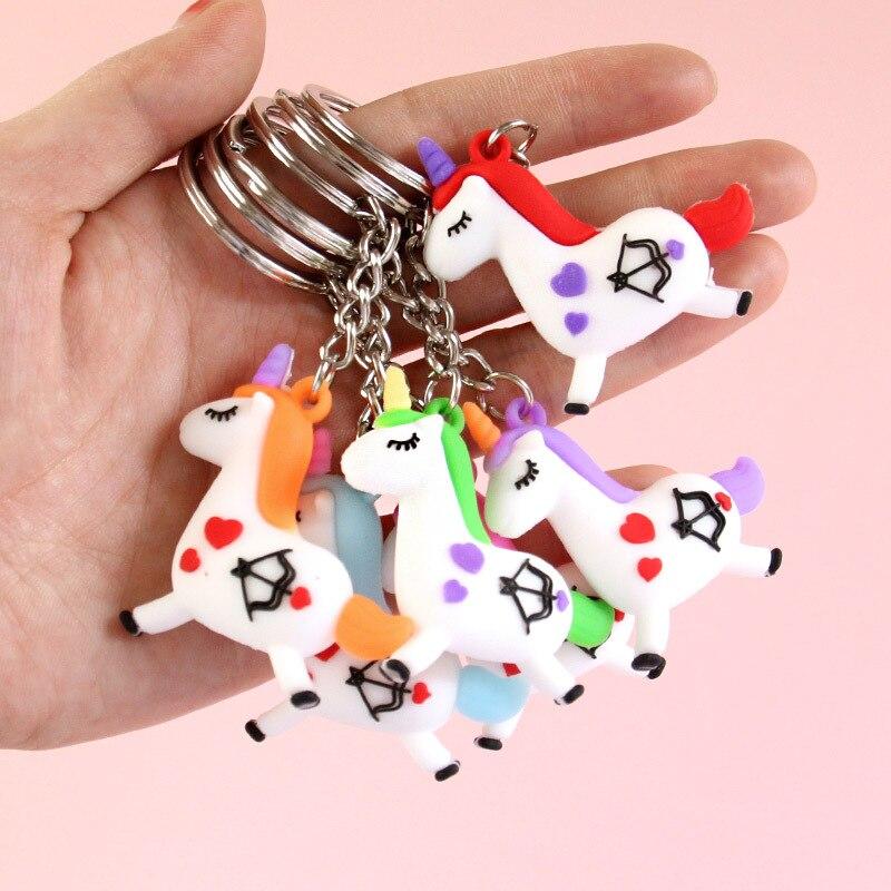 Huilong Cartoon Colorful Unicorn Keychain Gift To Girl Girl Bag Pendant Character Charm Keychain Jewelry Doll Keyring Kids Toys