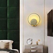 Modern Minimalist altın yuvarlak LED duvar lambası dekorasyon yatak odası başucu koridor koridor merdiven aydınlatma ev armatürleri