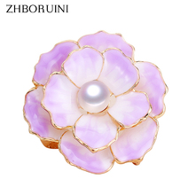 ZHBORUINI 2019 New High Quality Real Natural Freshwater Pearl Brooch Ceramic Enamel Flower Brooch Pins Pearl Jewelry For Women new free shipping flower jewelry natural 4 10mm black freshwater pearl embellished sunflower floral pin brooch top quality