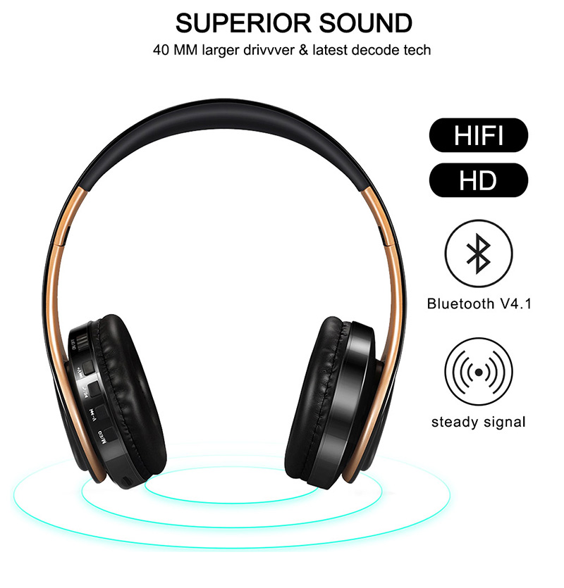 Foto of features Wireless foldable headphones with mic. Foldable wireless earphones for mp3