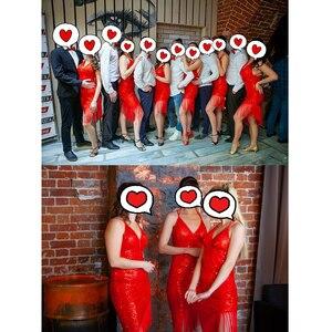 Image 5 - 2020 nuovo Concorso di Danza Latino Abiti Con Scollo A V 1920s Flapper Vestito 4 colori Salsa Vestito di Paillettes Costume di Ballo Latino DQ3077