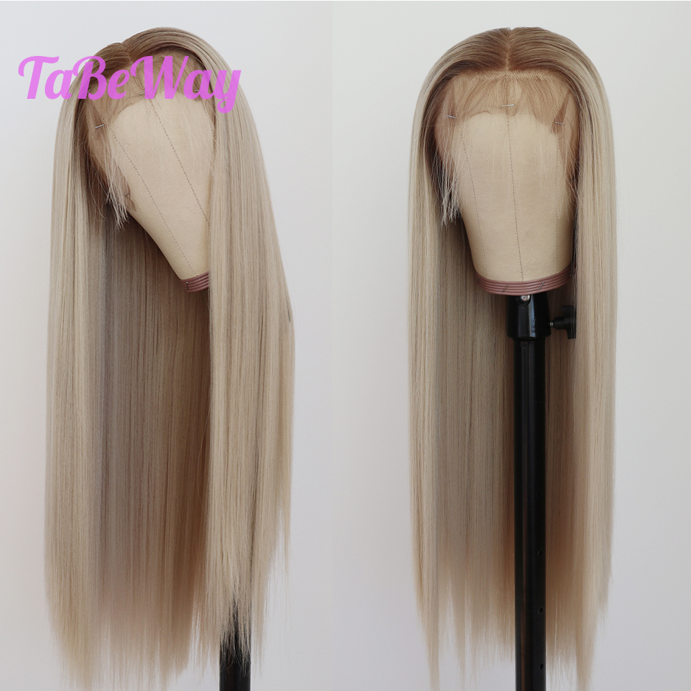TaBeWay 13x6 Lace Front Wigs Long Straight Hair Platinum Blonde Wig Heat Resistant Synthetic Lace Front Wigs For Fashion Women
