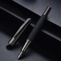 Hongdian 6013 Schwarz Metall Brunnen Stift Titan Schwarz EF/F/Gebogen Nib Gun-schwarz Stift Kappe Clip ausgezeichnete Business Büro Geschenk Stift