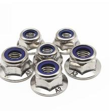 M4/M5/M6/M8/M10 Stainless Steel Hexagonal Flange Nut Hex Nylon Anti Slip Locknut