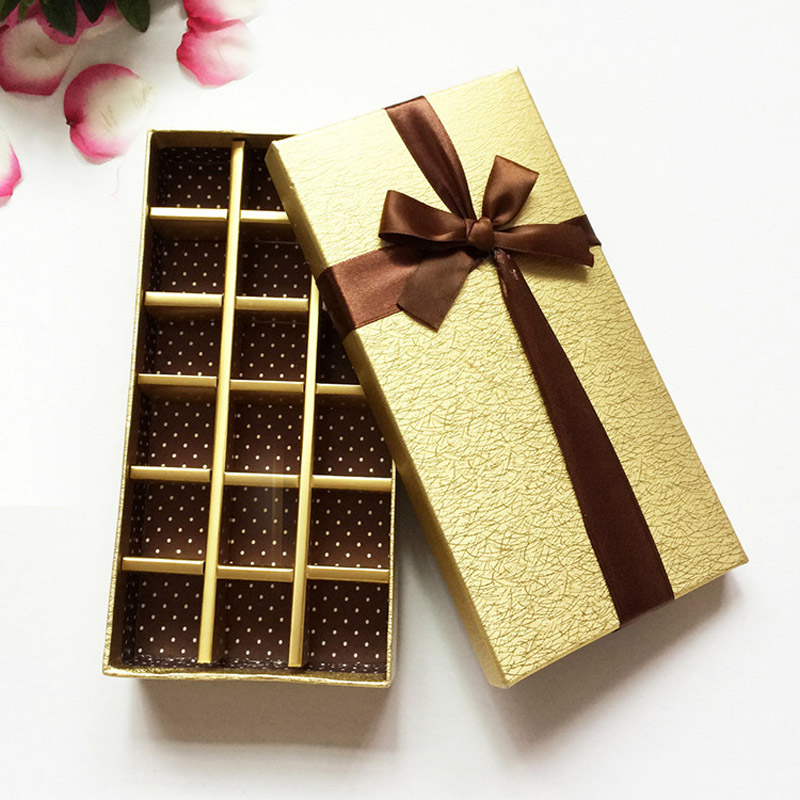 4pcs 18grid Handmade Empty Chocolate Packaging Boxes Cardboard Golden Candy Packing Display Wedding Party Paper Container Box
