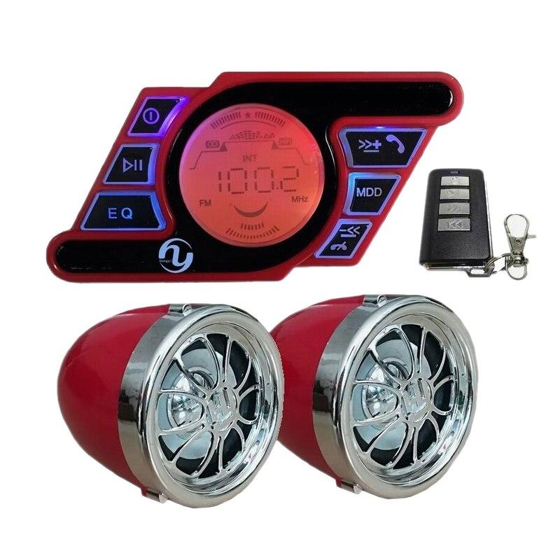 Motorcycle Audio Hands-Free Bluetooth Stereo Speaker Fm Radio Waterproof Mp3 Player title=