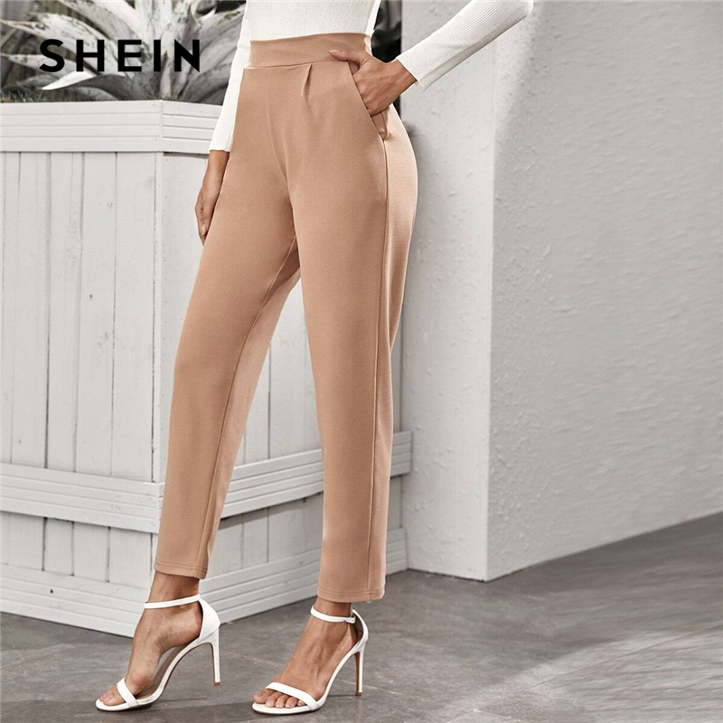 SHEIN Nude High Waist Slant Pocket Tailored Pants Women 2020 Spring Autumn Office Ladies Elastic Waist Elegant Long Trousers 1