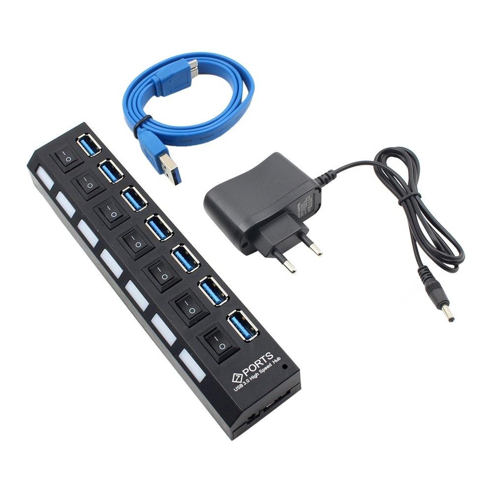 USB HUB 3.0 4/7 Ports Micro USB 3.0 HUB Splitter With Power Adapter USB Hab High Speed 5Gbps USB Splitter 3 HUB For PC