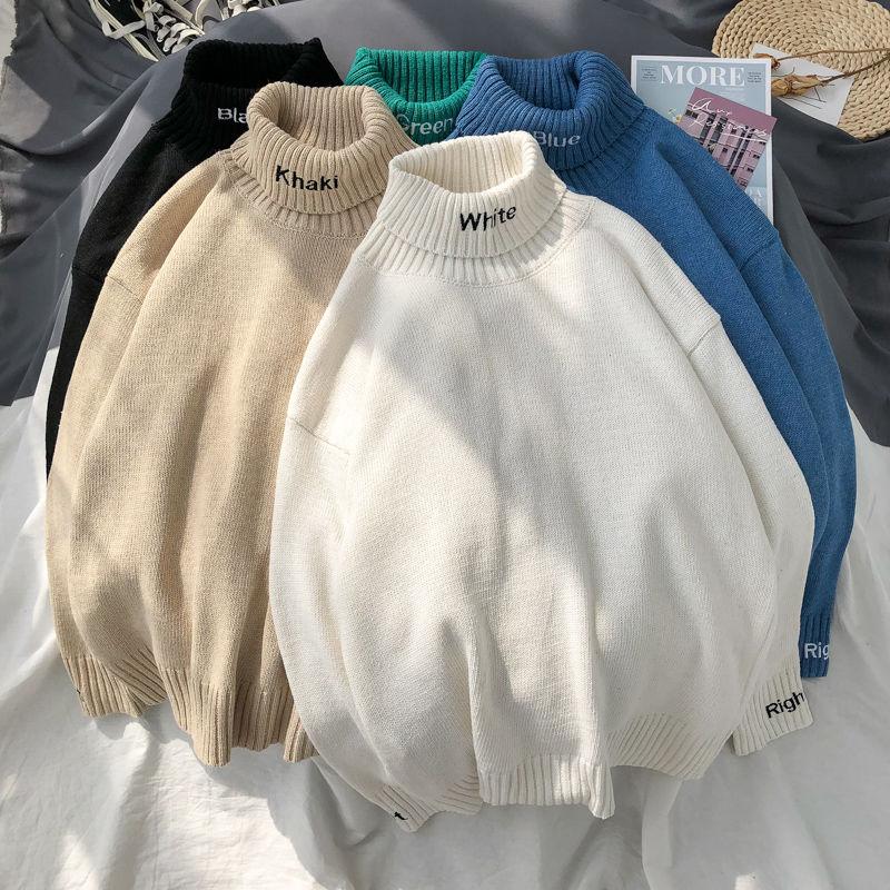 Camisola feminina camisola de gola alta com bordado carta de tamanho grande homens camisolas de inverno manga longa harajuku alta qualidade casal pulôver topos