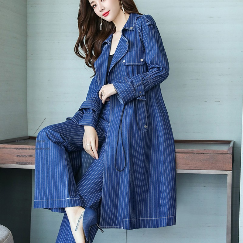 Fashion Womens Office Denim Suit European Style Lace Up Striped Denim Long Coats Loose Straight Leg Pants Two Pieces Set Blue