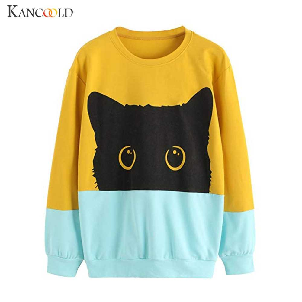 KANCOOLD スウェット 2019 ファッションパッチワーク猫パターンプルオーバーは、女性のカジュアル O ネックコート adies 秋カジュアルスポーツウェア
