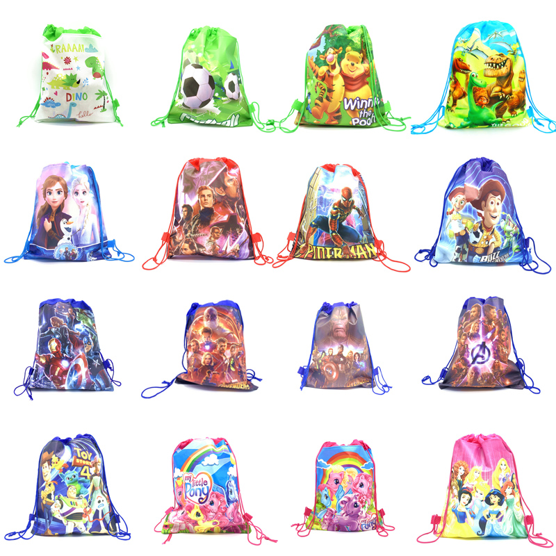 1pcs Disney Non-woven Fabrics Drawstring Bags Kids Birthday Party Gifts Toy Story Halloween Gift Candy Bag Avengers School Bag