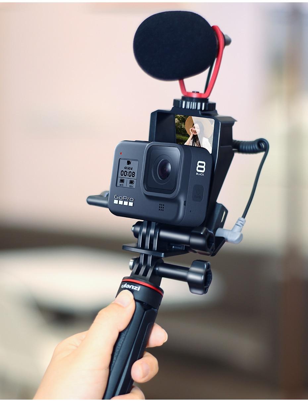 Vlog /& Selfie Flip Mirror Set Geh/äuse Mic Adapter /& Cold Shoe f/ür GoPro 8//7//6//5 Session Max und DJI Osmo und anderes Action Kamera Zubeh/ör