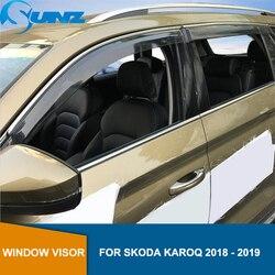 Car styling dym boczna szyba deflektory dla Skoda KAROQ 2018 2019 okno Visor Vent odcienie osłona przeciwdeszczowa straż SUNZ w Markizy i zadaszenia od Samochody i motocykle na